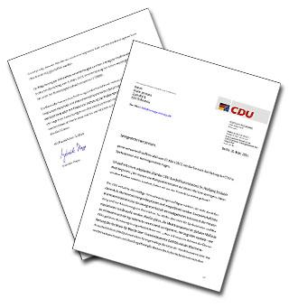 Antwortschreiben der Bundes-CDU