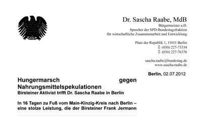 Sascha Raabe (MdB) veröffentlicht Pressemitteilung