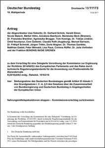 Antrag der Grünen im Bundestag