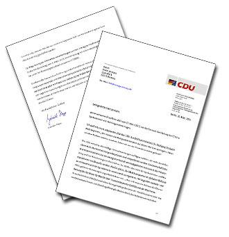 Antwortschreiben der CDU